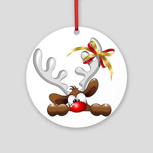 Funny Christmas Reindeer Cartoon Ornament (Round)