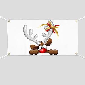 Funny Christmas Reindeer Cartoon Banner