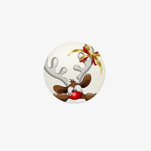 Funny Christmas Reindeer Cartoon Mini Button