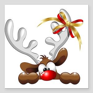 Funny Christmas Reindeer Cartoon Square Car Magnet