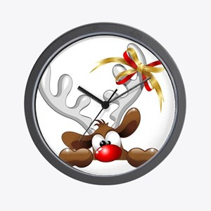 Funny Christmas Reindeer Cartoon Wall Clock
