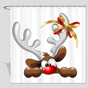 Funny Christmas Reindeer Cartoon Shower Curtain