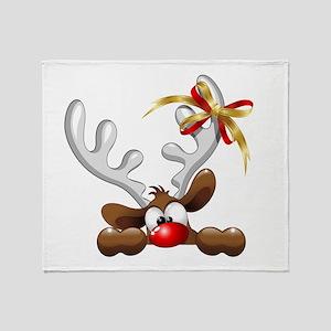 Funny Christmas Reindeer Cartoon Throw Blanket
