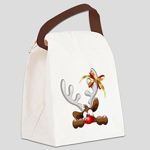 Funny Christmas Reindeer Cartoon Canvas Lunch Bag