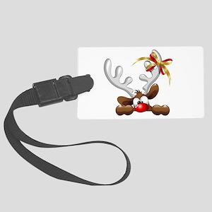 Funny Christmas Reindeer Cartoon Luggage Tag