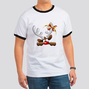 Funny Christmas Reindeer Cartoon T-Shirt