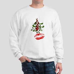 Mistletoe and Red Lipstick Kiss Print Sweatshirt