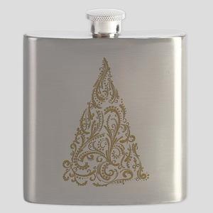 Ornate Golden Metallic Filigree Christmas Tree Fla