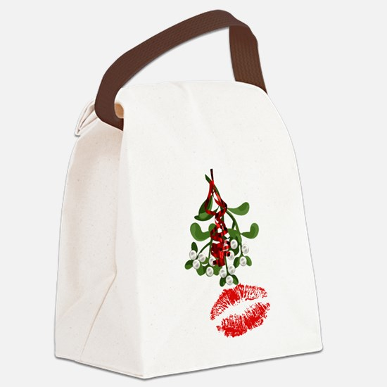 Mistletoe and Red Lipstick Kiss Print Canvas Lunch