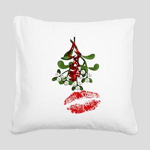 Mistletoe and Red Lipstick Kiss Print Square Canva