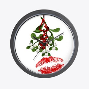 Mistletoe and Red Lipstick Kiss Print Wall Clock