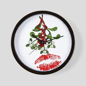 Mistletoe and Red Lipstick Kiss Print Wall Clock