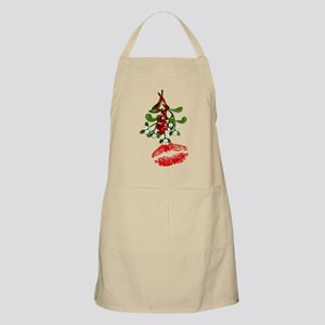 Mistletoe and Red Lipstick Kiss Print Apron