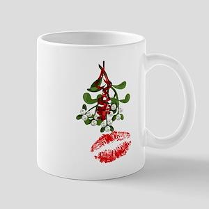 Mistletoe and Red Lipstick Kiss Print Mugs