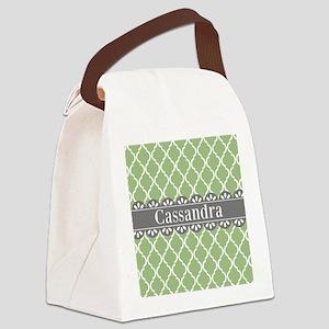Sage Moroccan Lattice Grey Lace Canvas Lunch Bag