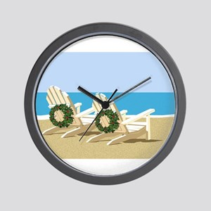 Beach Chairs with Wreaths Wall Clock