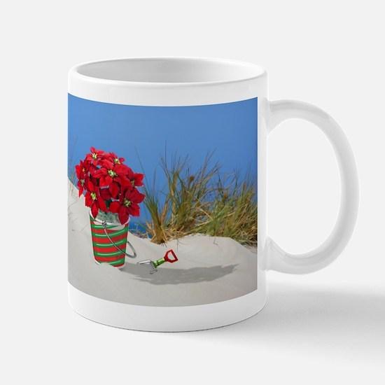 Pointsettia in a Sand Pail Mugs