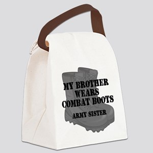 Army Sister Brother Combat Boots Canvas Lunch Bag