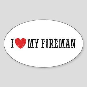 I Love My Fireman Sticker (Oval)