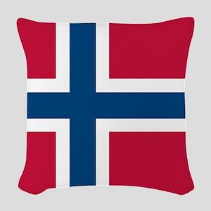 Norwegian Flag Woven Throw Pillow