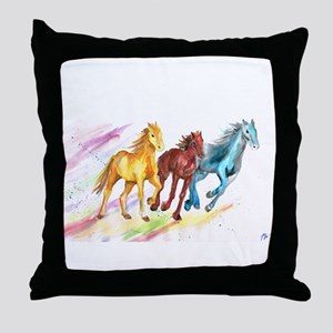 Watercolor Horses Throw Pillow