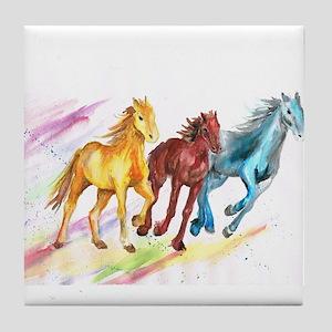 Watercolor Horses Tile Coaster