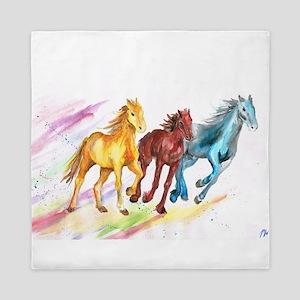 Watercolor Horses Queen Duvet