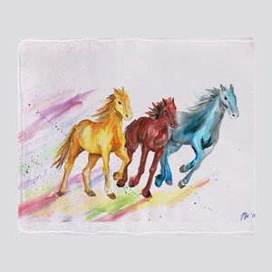 Watercolor Horses Throw Blanket