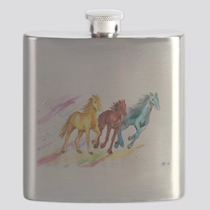 Watercolor Horses Flask