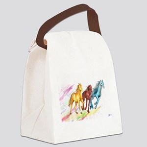 Watercolor Horses Canvas Lunch Bag