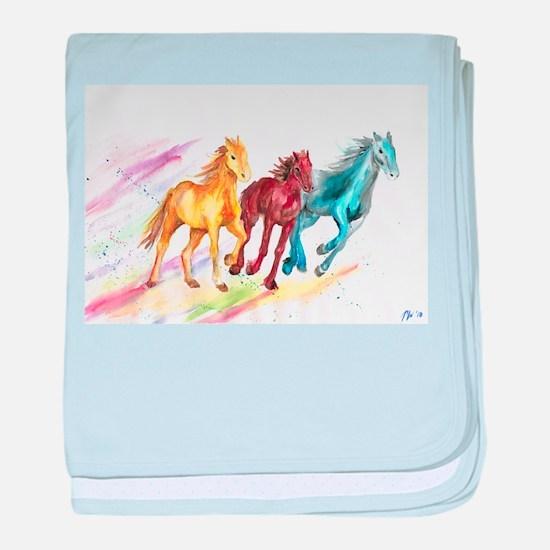 Watercolor Horses baby blanket