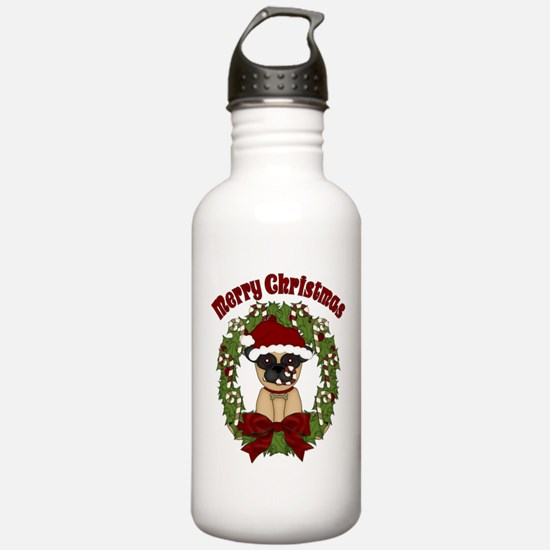 Pug and Candy Cane Wreath Water Bottle