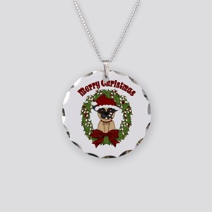 Pug and Candy Cane Wreath Necklace