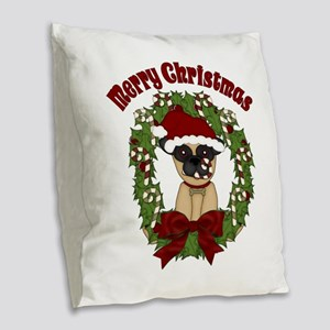 Pug and Candy Cane Wreath Burlap Throw Pillow