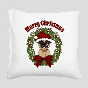 Pug and Candy Cane Wreath Square Canvas Pillow
