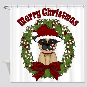 Pug and Candy Cane Wreath Shower Curtain