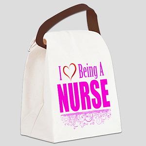 I Love Being A Nurse Canvas Lunch Bag