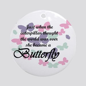Inspirational Butterfly Round Ornament