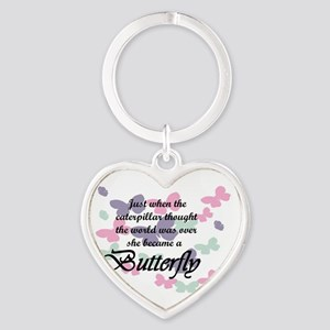 Inspirational Butterfly Heart Keychain