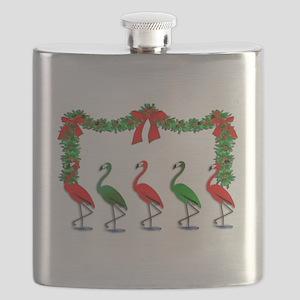 Xmas Flamingo Rockettes Flask