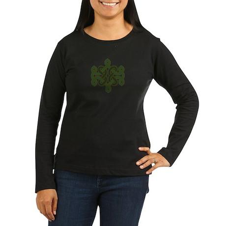 Green celtic knot Women's Long Sleeve Dark T-Shirt