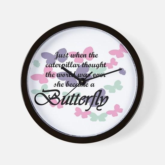 Inspirational Butterfly Wall Clock
