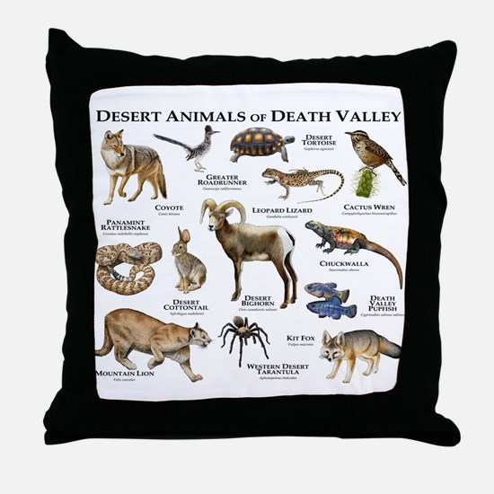Animals of Death Valley Throw Pillow