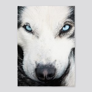 Blue Eyed Husky 5'x7'Area Rug