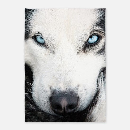 Blue Eyed Husky 5'x7'Area Rug