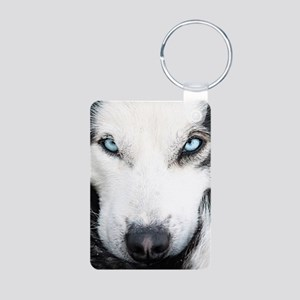 Blue Eyed Husky Aluminum Photo Keychain
