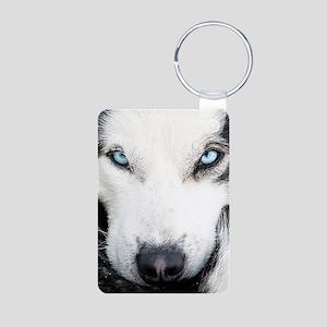 Blue Eyed Husky Aluminum Photo Keychain