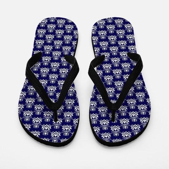 Elegant Damask Pattern Navy Blue and Wh Flip Flops