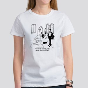 Prenup Ad on Back of Wedding Gown Women's T-Shirt
