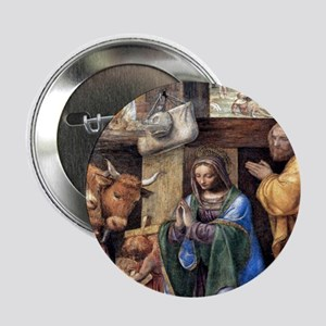 """Nativity and Annunciation to the Shep 2.25"""" Button"""